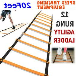 12 Rung Football Speed Agility Training Ladder Flat Rung wit