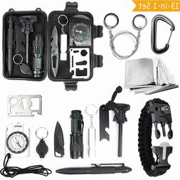 13 in 1 SOS Kit Outdoor Emergency Equipment Box For Camping