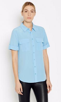 $198 NWT Equipment Silk Short Sleeve Slim Signature Blouse P