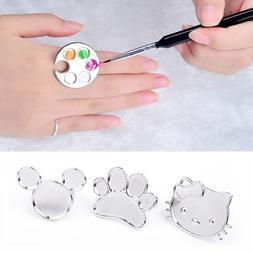 1pc Mini Nail Art Metal Finger Ring Palette Mixing Acrylic U