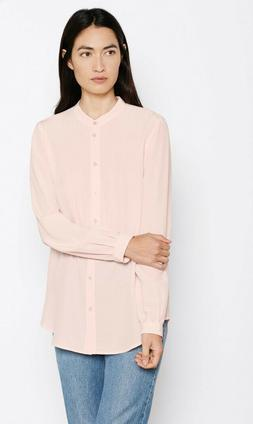 $219 NWT Equipment Henri Silk Blouse in Chalk Pink Sz L ~ So
