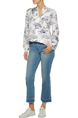 $219 NWT Equipment Henri Silk Blouse White & Blue Rose Sz L