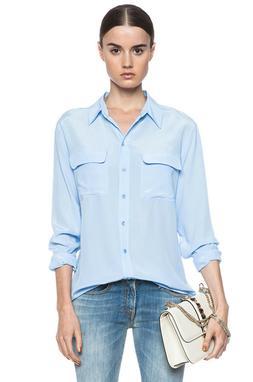 $228 EQUIPMENT Signature Long Sleeve Silk Shirt Blouse Blue