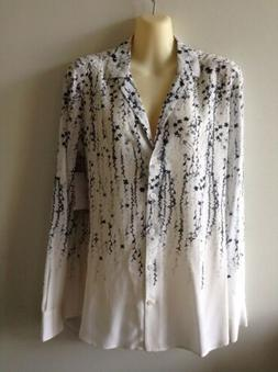 $230 NWOT Equipment Adalyn Silk Blouse White w/ Black & Gray