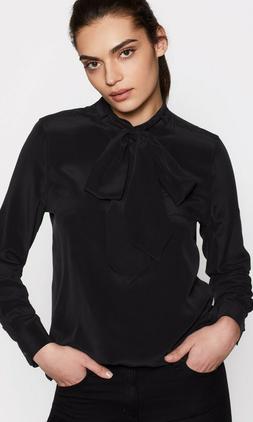 $278 EQUIPMENT Carleen Black Tie Neck Silk Blouse Shirt Sz S