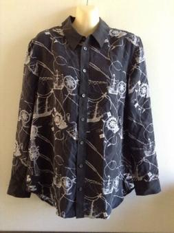 $278 NWOT Equipment Reese Black Nautical Silk Blouse Sz  S ~