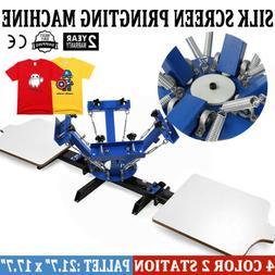 4 Color 2 Station Silk Screen Printing Kit Press Equipment P
