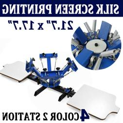 4 Color 2 Station Silk Screen Printing Machine Press Equipme