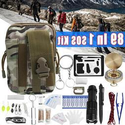 89Pcs SOS Emergency Survival Equipment Outdoor Gear Tools Ki