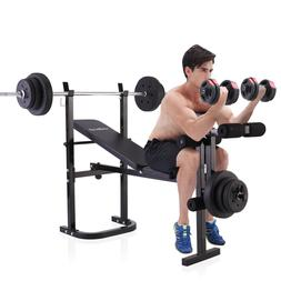 Fitness Bench With Weight Set Equipment Barbell Lifting Exer