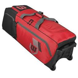 New Wilson Pudge Catchers Equipment Bag on Wheels Black Base