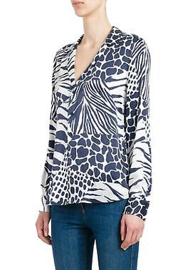 Equipment Adalyn Silk Animal Print Long Sleeve V-Neck White/