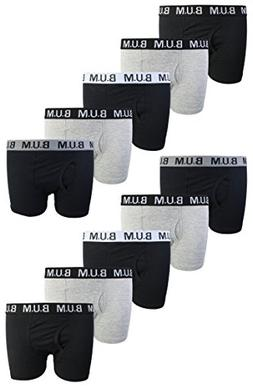 B.U.M. Equipment Boys 10 Pack Solid Boxer Briefs Underwear,