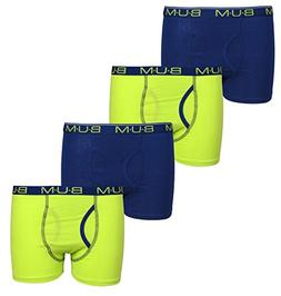 'B.U.M. Equipment Boys 4 Pack Solid Boxer Briefs, Lime/Navy,