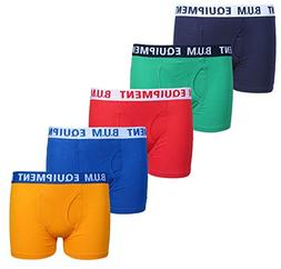 B.U.M. Equipment Boys 5 Pack Solid Boxer Briefs Underwear, B