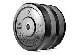 X Training Equipment Premium Black Bumper Plate Solid Rubber