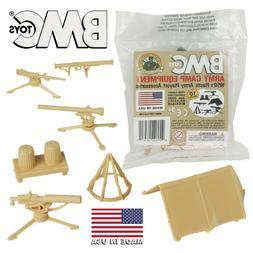 BMC Marx Recast PLASTIC ARMY MEN CAMP EQUIPMENT 10pc Tan Ten