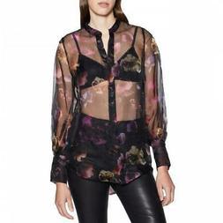 Equipment Femme Boleyn 100% silk shirt blouse Black purple y