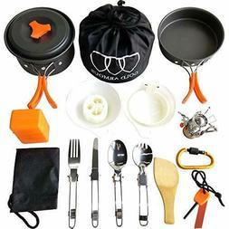 17Pcs Camping Cookware Mess Kit  Backpacki