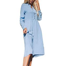 kaifongfu Women Casual Dresses Solid Color England Stand Col