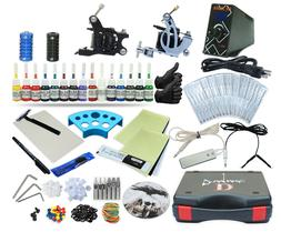 Complete Tattoo Kit 2 Machine Set Equipment Power Supply 15