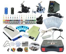 Complete Tattoo Kit 2 Machine Set Equipment Power Supply 15