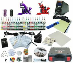 Complete Tattoo Kit 2 Machine Set Equipment Power Supply 40