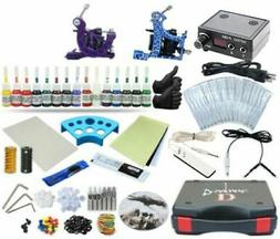 Complete Tattoo Kit 2 Machine Set Equipment Power Supply TKP