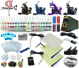 Complete Tattoo Kit 4 Machine Guns Set Equipment Power Suppl
