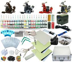 Complete Tattoo Kit 4 Machine Set Equipment Power Supply 40