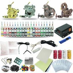 Complete Tattoo Kit 4 Machine Set Equipment Power Supply 40C