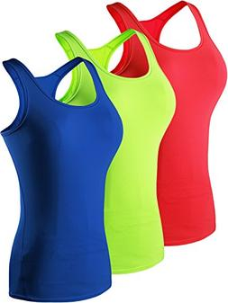 Neleus Women's 3 Pack Compression Athletic Tank Top for Yoga