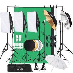 Digital Photography Lighting Kit 3 Backdrop Umbrella Softbox