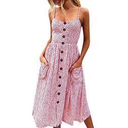 Veepola Women Dress,Sexy Buttons Bohemian Spaghetti Strap Ma