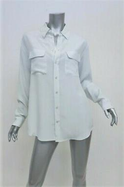 Equipment Signature Silk Blouse Ice Blue Size Small Button D