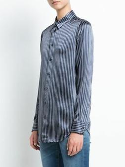 Equipment Essential Silk Button Down Striped Blue White Paja