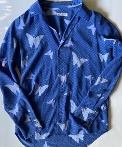 Equipment Femme 100% Silk Butterfly Print Blouse Size M