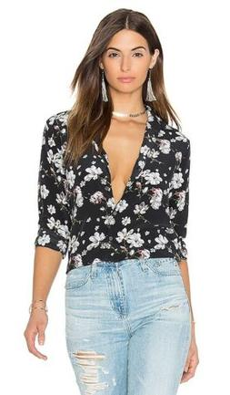 Equipment Femme $306 Leema Ditsy Black Floral Button Up Silk
