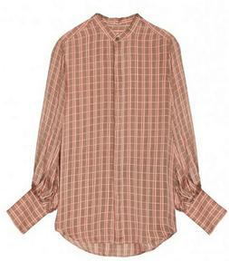 Equipment Femme Boleyn Silk Blend Shirt Rose Plaid Sz XS S M