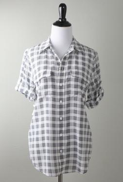 EQUIPMENT Femme NWT $218 Slim Signature 100% Silk Plaid Shir