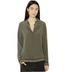 Equipment Femme Shiloh Print Silk Blouse Size M Olive Green