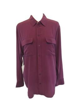 Equipment Femme Signature Small 100% Silk Blouse Pink Button