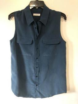 Equipment Femme Sleeveless Slim Signature Shirt Size S Worn