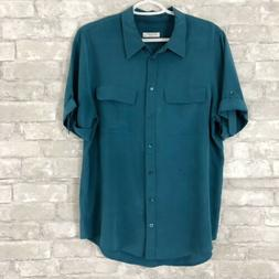 Equipment Femme Women's Blue Silk Button Down Shirt Size Lar