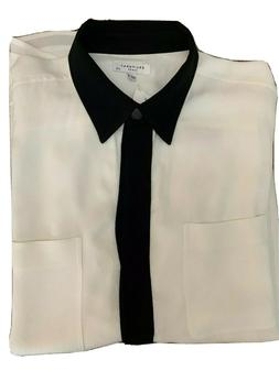 EQUIPMENT FEMME~ WOMEN'S WHITE & BLACK AUSTINE CREPE  SHIRT
