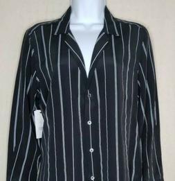 Equipment Femme Womens Sz M 100% Silk Top Long Sleeve Button