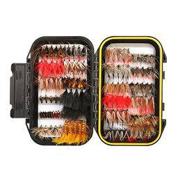 FISHINGSIR 120PCS Fly Fishing Flies Set Assorted Dry/Wet Fli