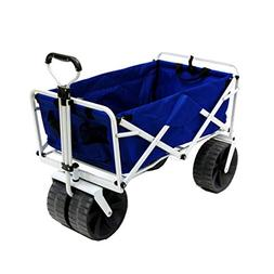 Folding Beach Wagon All Terrain Blue Collapsible Kart Foldab