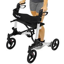 Vive Folding Rollator Walker - 4 Wheel Medical Rolling Walke