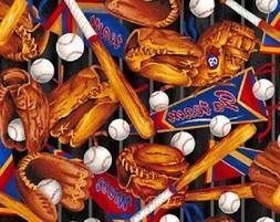 Go Team Baseball Equipment Supplies 100% cotton Fabric by th